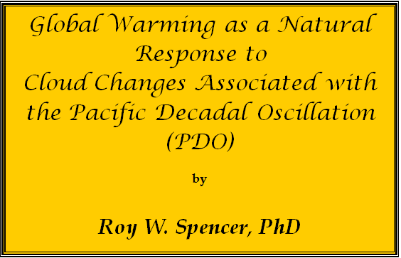 Global Warming as a Natural Response to Cloud Changes Associated with Pacific Decadal Oscillation