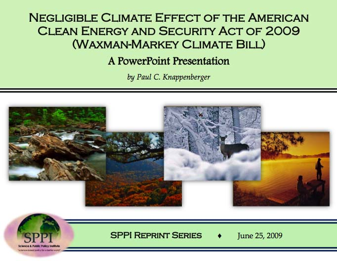 Negligible Climate Effect of the American Clean Energy and Security Act of 2009